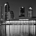 Black And White Tampa Night by Frozen in Time Fine Art Photography