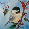 Black Capped Chickadee And Winterberries by Loretta Luglio