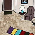 Essence Of Home - Black Cat Entering Living Room by Sheryl Young