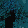 Black Cat In The Moonlight Blue by Barbara Griffin