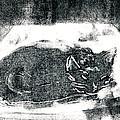 Black Cat Monoprint-2 by Janet Gunderson