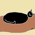Black Cat On A Rug by Anita Dale Livaditis