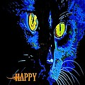 Black Cat Portrait With Happy Halloween Greeting  by Taiche Acrylic Art