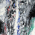 Black Crystal Cave - Black White Abstract By Chakramoon by Belinda Capol