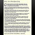 Black Frame Original Desiderata Poem by Desiderata Gallery