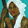 Black Lady With White Head-dress by Janet Ashworth