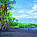 Black Sand Beach At Punaluu by Dominic Piperata