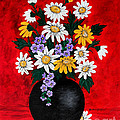 Black Vase With Daisies by Barbara Griffin