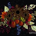 Black With Flowers And Fruit by Nancy Long