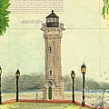 Blackwell Island Lighthouse Ny Chart Map Art by Cathy Peek