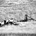 Black And White Of Old Farm Equipment by Jeff Swan