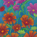 Blanket Flowers And Cosmos by Anne Katzeff
