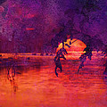 Bleeding Sunrise Abstract by J Larry Walker