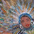 Blissful Babe With Feathers by Anne-Elizabeth Whiteway
