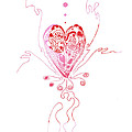 Blossoming Love Pink And Red Valentine by Regina Valluzzi
