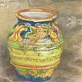 Blue And Gold Italian Pot by Harriett Masterson