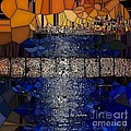 Blue And Gold Stained Abstract by Saundra Myles