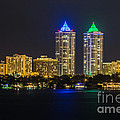 Blue And Green Diamond Twin Towers by Rene Triay Photography