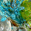 Blue And Green Glass Abstract by Olga Hamilton