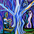 Blue And Purple Girl With Tree And Owl by Genevieve Esson
