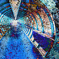 Blue And Rust Grunge Tunnel by Elaine Plesser