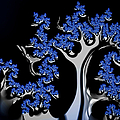 Blue And Silver Fractal Tree Abstract Artwork by Matthias Hauser
