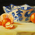 Blue And White Bowl And Tangerines by Ann Simons