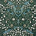 Blue And White Flowers On Green by William Morris
