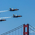 Blue Angels Over The Golden Gate by Kate Brown