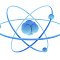 Blue Atoms And Nucleus by Jesper Klausen / Science Photo Library