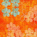 Blue Blossom On Orange by Linda Woods