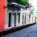 Blue Brick Street Old San Juan by Thomas R Fletcher