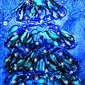 Blue Christmas Tree Alcohol Inks  by Danielle  Parent