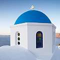 Blue Domed Church In Oia Santorini Greece by Matteo Colombo