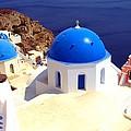 Blue Domes In Santorini by Scott Carda
