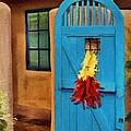 Blue Door And Peppers by Jeff Kolker