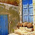 Blue Doors Of Santorini by Madeline Ellis