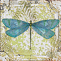 Blue Dragonfly On Vintage Tin by Jean Plout