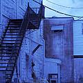 Blue Fire Escape Usa Near Infrared by Sally Rockefeller