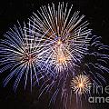 Blue Fireworks At Night by Deborah Benbrook