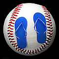 Blue Flip Flops Baseball Square by Andee Design