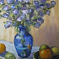 Blue Flowers And Fruit by Sharon Franke