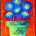 Blue Flowers On Orange by Eloise Schneider Mote