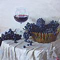 Blue Grapes And Wine by Ylli Haruni
