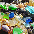 Blue Green Seaglass Art Prinst Agates Shells by Baslee Troutman