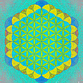 Blue Green Yellow Flower Of Life by Susan Bloom