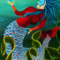 Blue Haired Mermaid by Deena Athans