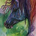 Blue Horse With Red Mane by Angel Ciesniarska