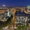 Blue Hour Moonrise II Over City Of Portland Oregon by David Gn