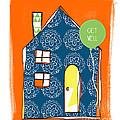 Blue House Get Well Card by Linda Woods
